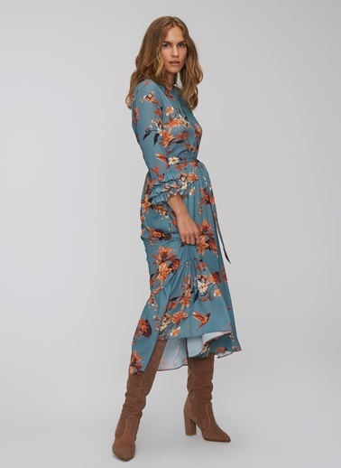 People By Fabrika Çiçek Desenli Elbise Mavi